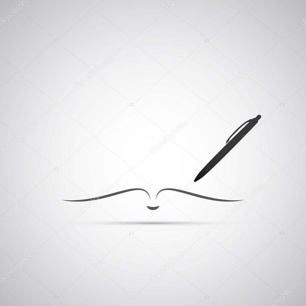 Notebook and Pen Icon Design
