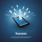 úspěch - nakupovat a prodávat online - grafický design koncept