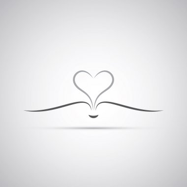 Book With Open Pages Forming a Heart - Icon Design