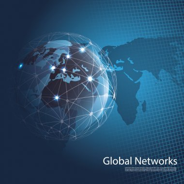 Abstract Blue 3D Global Networks Concept Creative Design Template with Wired Earth Globe and World Map Background for Business, IT or Technology - Illustration in Freely Scalable and Editable Vector Format stock vector