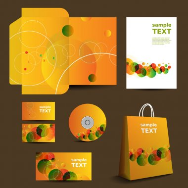 Stationery Template, Corporate Image Design with Vivid Colors