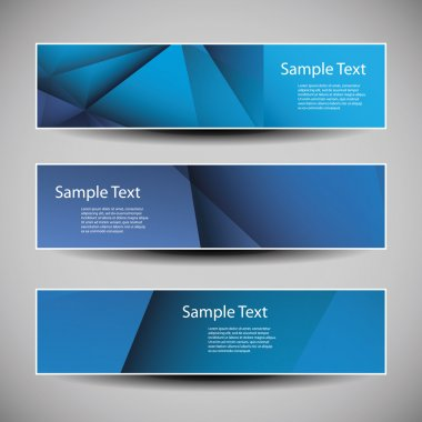 Banner or Header Designs with Blue Abstract Geometric Pattern