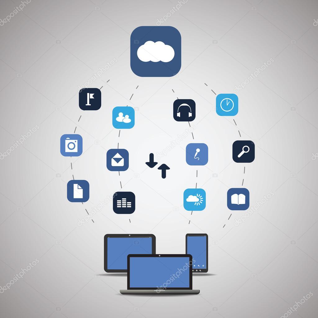 Cloud Computing Concept - Vector Illustration