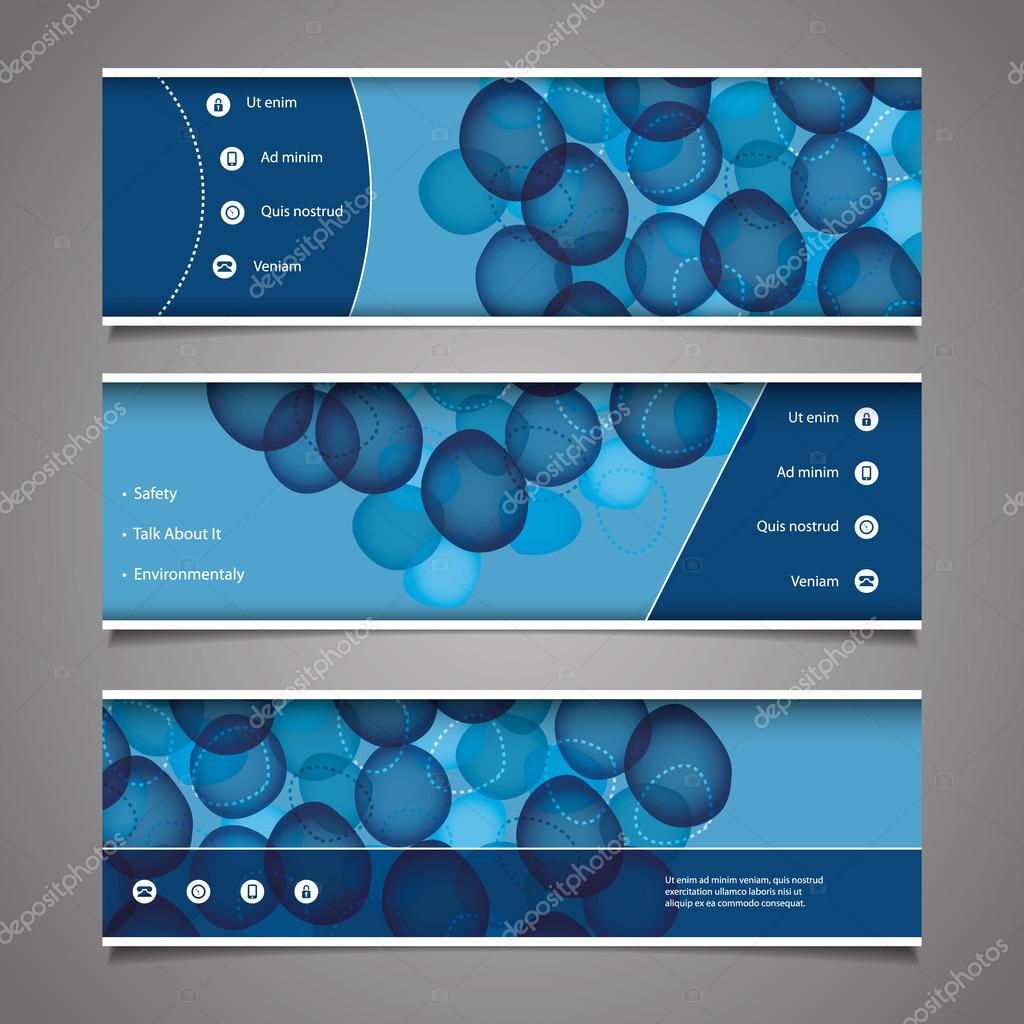 Web Design Elements - Header Designs with Bubbles — Stock