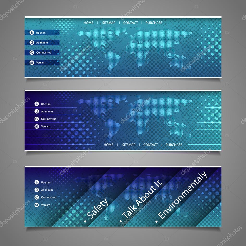 Web design elements abstract header designs with dotted world map web design elements abstract header designs with dotted world map stock vector gumiabroncs Choice Image