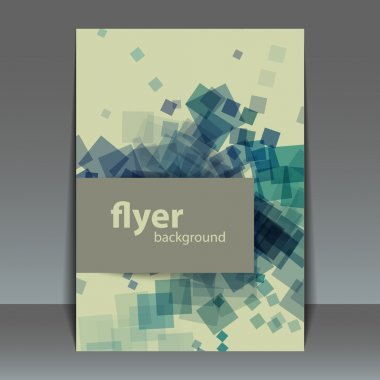 Flyer or Cover Design with Squares Pattern Background
