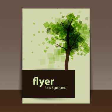 Flyer or Cover Design with Abstract Green Tree Background