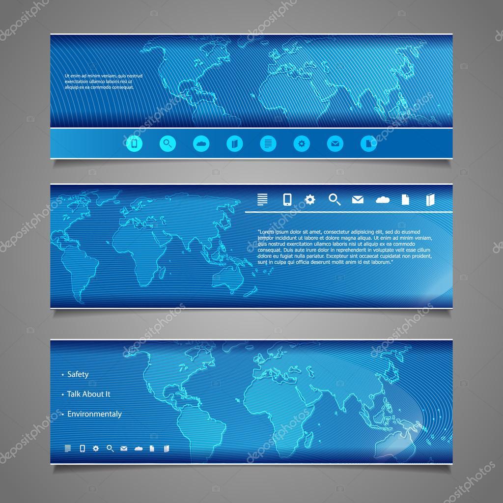 Web Design Elements - Header Designs with World Map