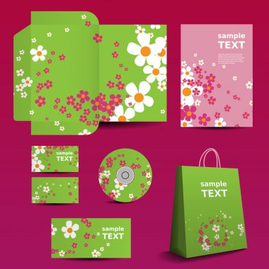 Stationery Template, Corporate Image Design with Flowers Pattern
