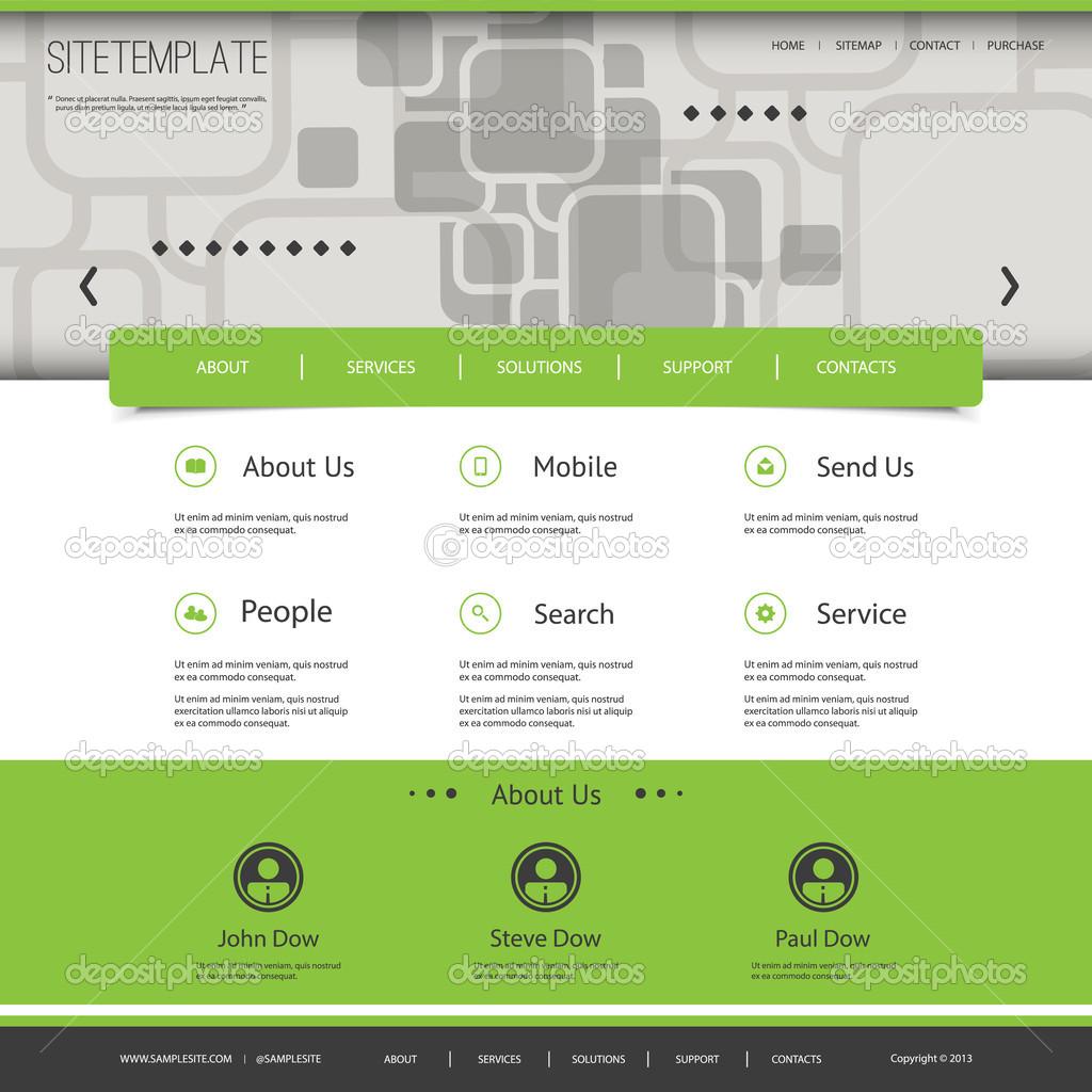 Homepagevorlage mit abstrakten Header-Design - Quadrate-Muster ...