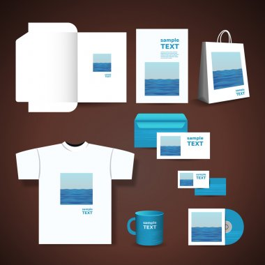 Stationery, Corporate Image Design with Blue Seawater Design