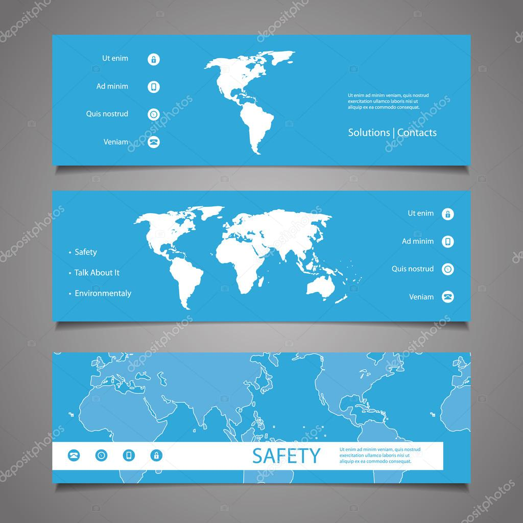Web design elements header designs with world map stock vector web design elements header designs with world map stock vector gumiabroncs Choice Image