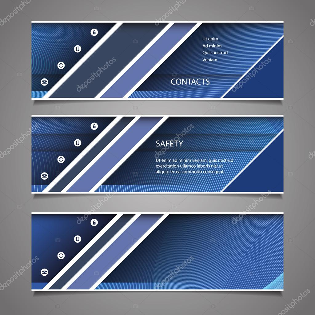 Website Design Elements - Header Designs with Abstract Stripes and Diagonal Lines