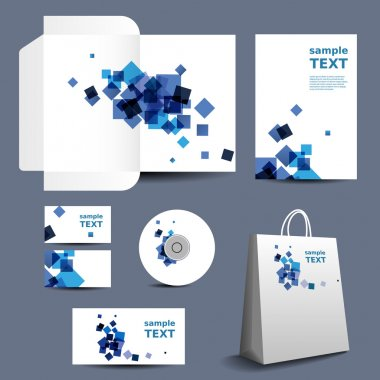 Stationery Template, Corporate Image Design with Abstract Blue Squares