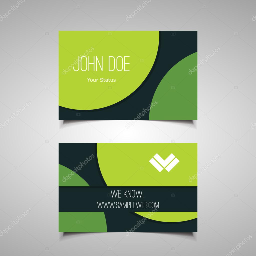 Business or Gift Card Design with Green Circular Abstract Background ...