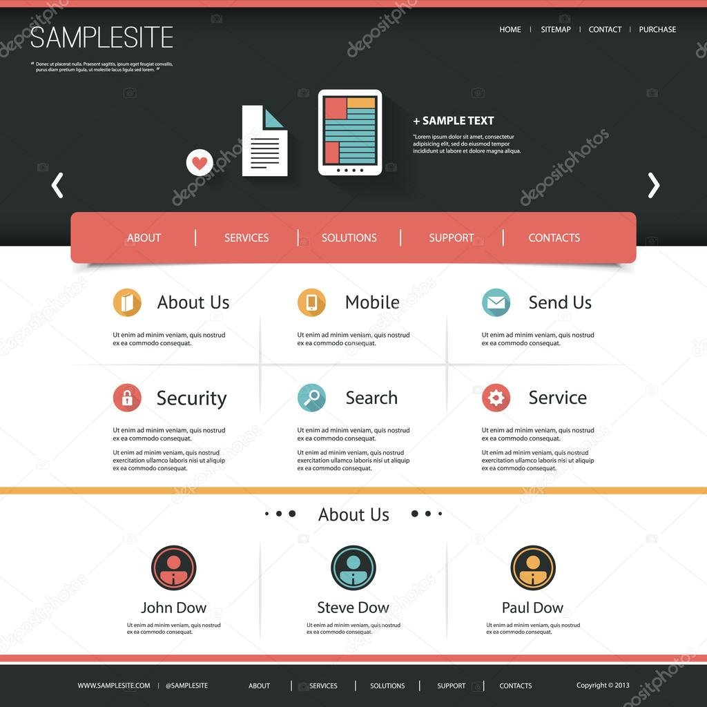 website template with flat ui design for your business stock