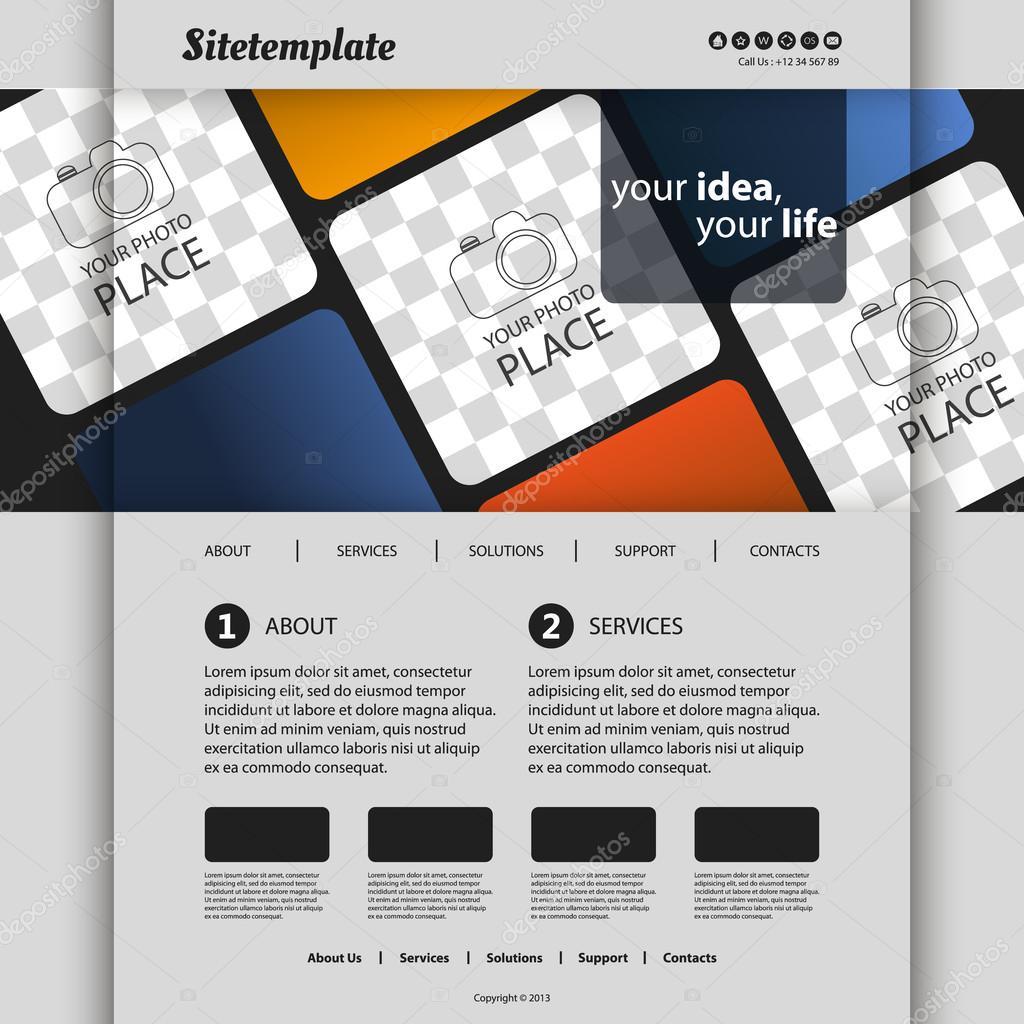 plantilla de sitio web con diseño abstracto y un lugar para su ...