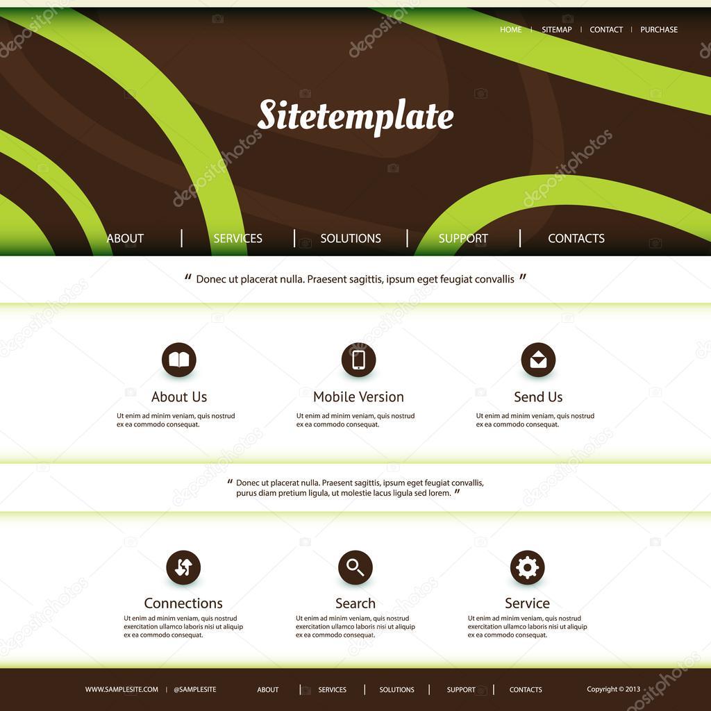 Homepagevorlage mit abstrakten Header-Design - Kurven-Muster ...