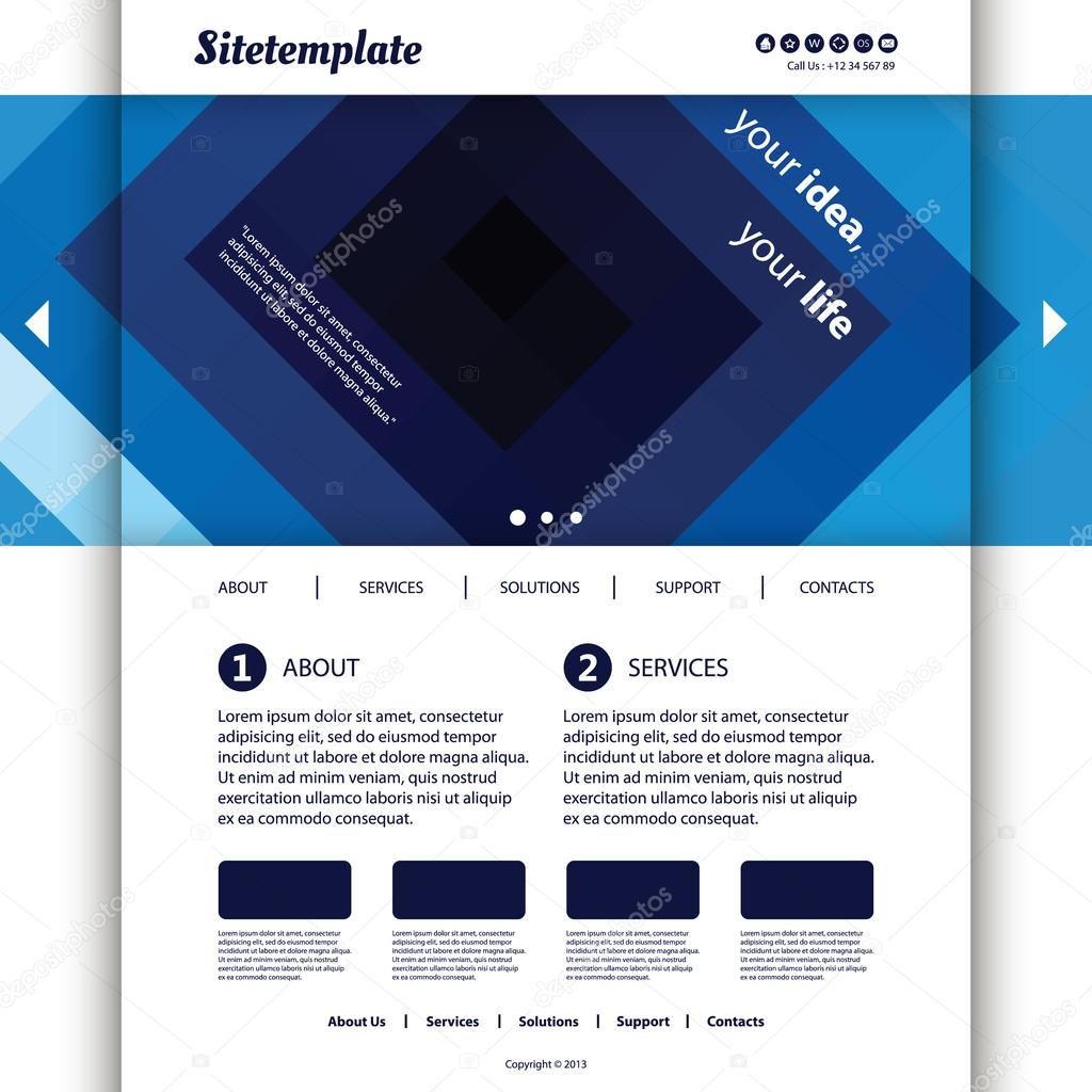 Website-Vorlage mit blauen abstrakten Header-Design — Stockvektor ...