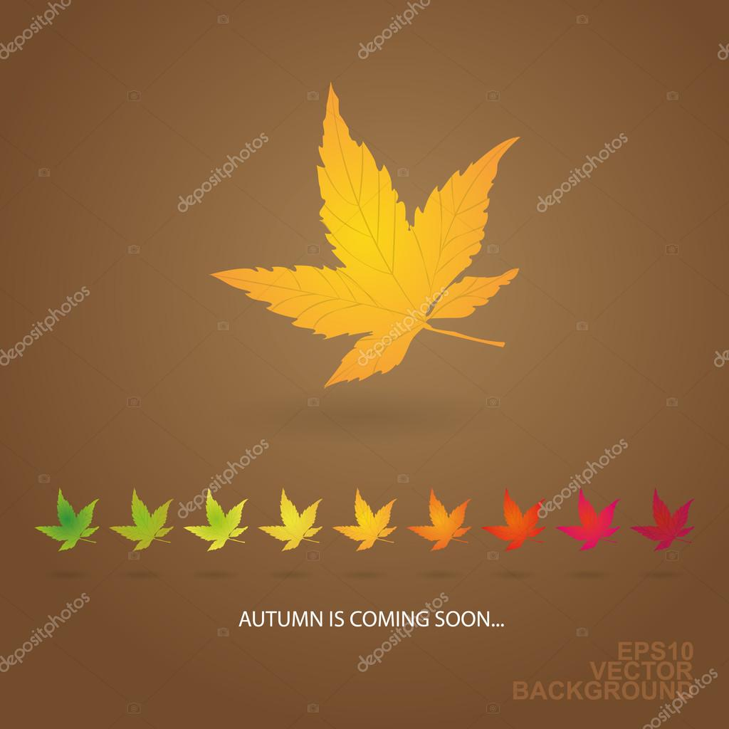 Autumn is Coming Soon - Background with Row of Leaves