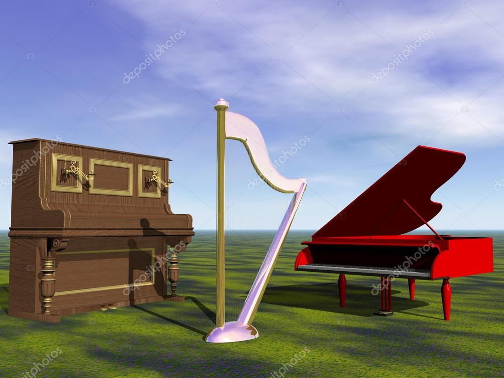 Piano and harp and sky