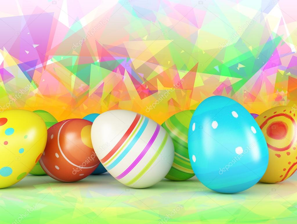 Easter Eggs On A Color Background Stock Photo 19148321