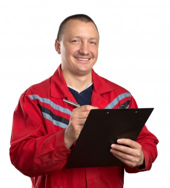 Happy service man with clipboard