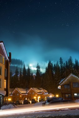 Landscape of ski village at night stock vector