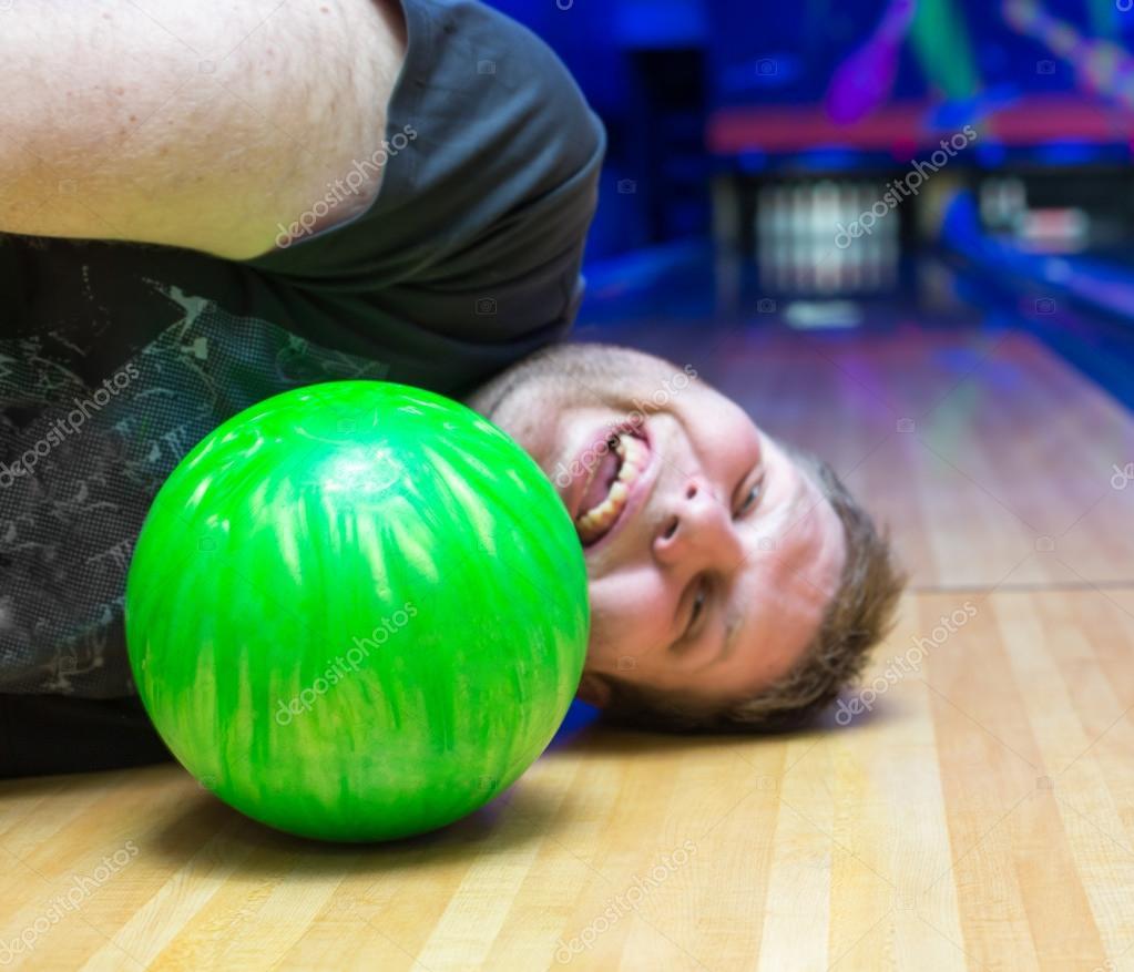 Drunk man on bowling alley