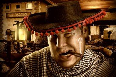 Serious cowboy mexican at night