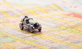 Fotografie Old car on map