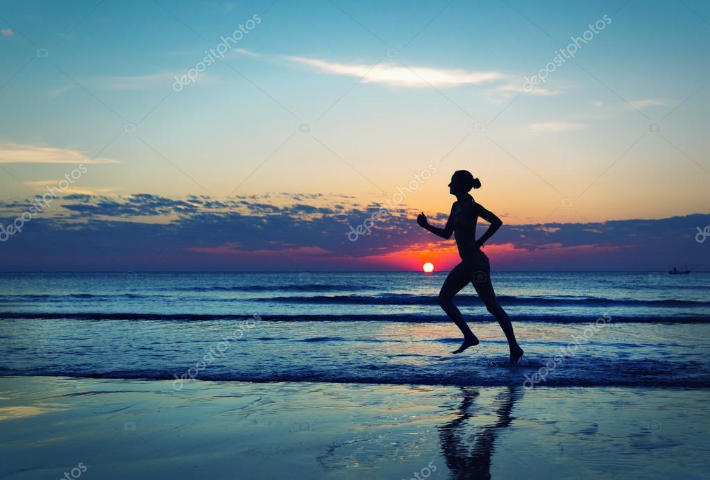 Silhouette of girl runing