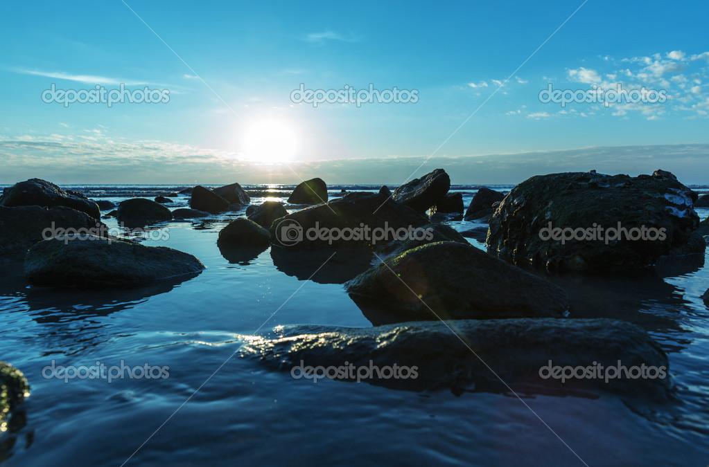 Blue sea sunset