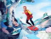 Fotografie šťastné usmívající se hospodyňka surfování na žehlicí prkna