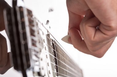 Guitarist plays on stage