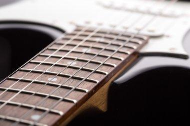 Closeup of electric guitar strings