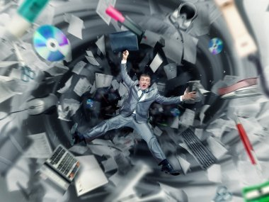 Businessman is falling into office chaos