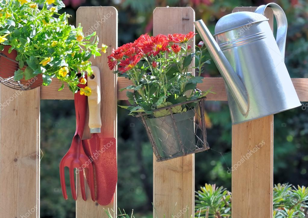 Autumnal Flowers And Gardening Accessories U2014 Stock Photo