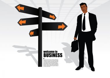 Businessman and the signpost