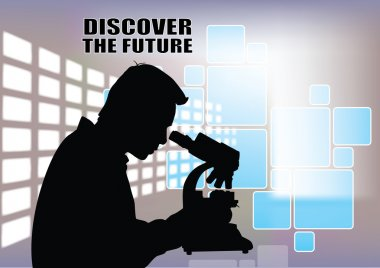 Scientist with microscope on abstract background