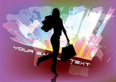 """Картина, постер, плакат, фотообои """"делающая покупки женщина"""", артикул 42793409"""