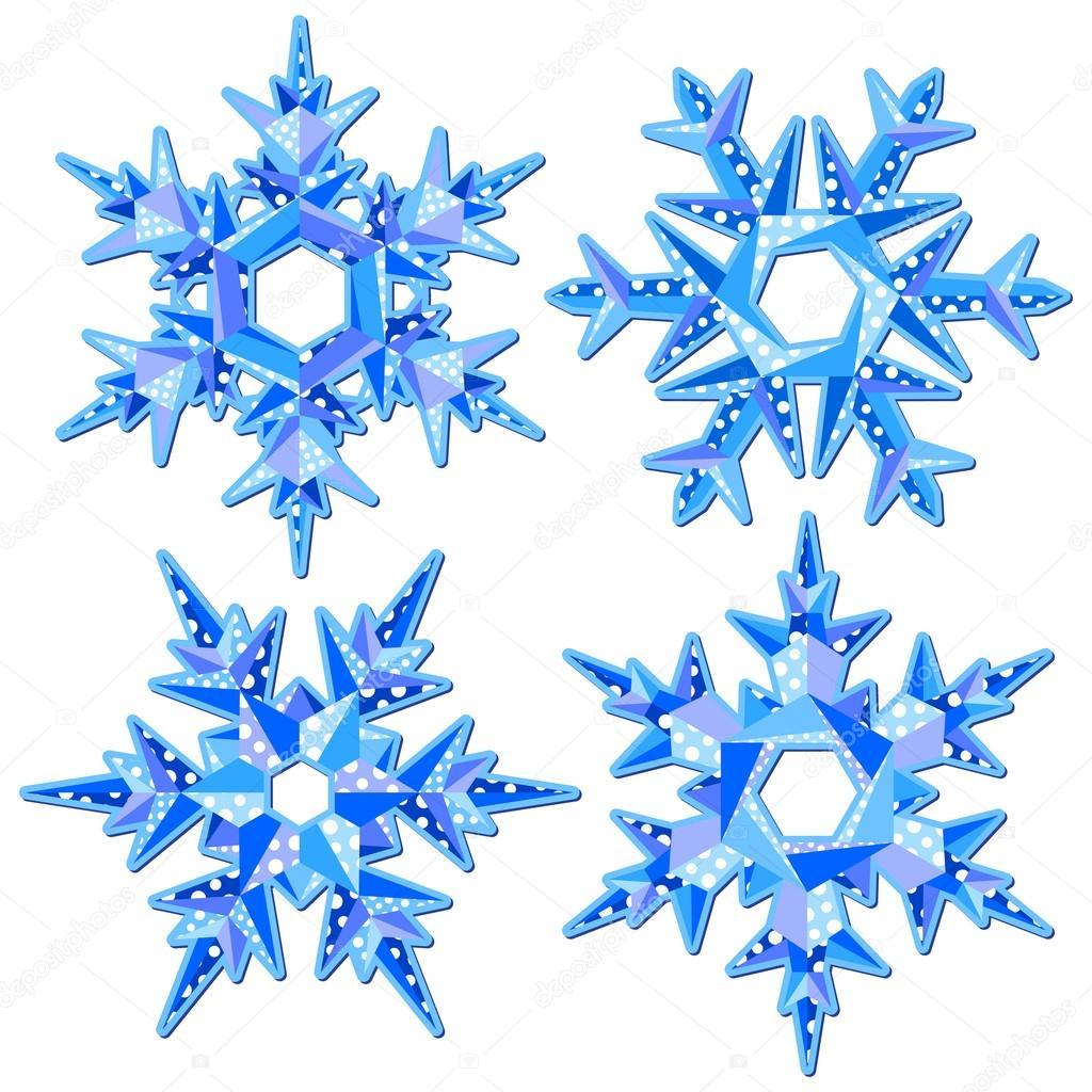 Origami Snowflakes Stock Vector Nata Art 12905091