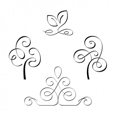 Calligraphic design elements. Vector Illustration stock vector