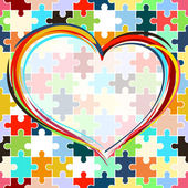 Malované srdce na bezproblémové puzzle pozadí