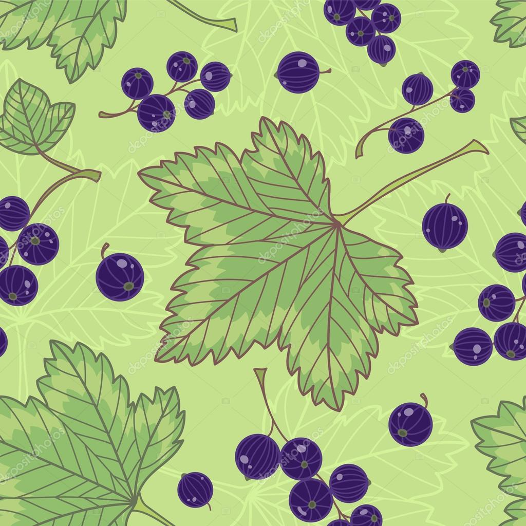 Black currants seamless pattern.