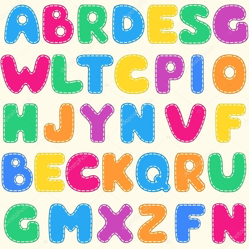 Patr n sin costuras infantiles alfabeto brillante vector - Letras decorativas para habitaciones infantiles ...