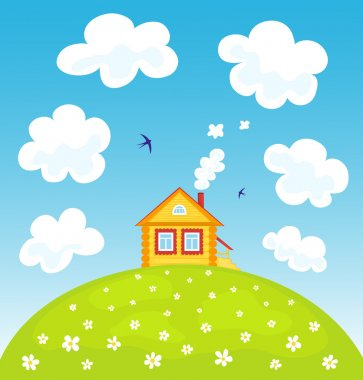 Yellow house on the hill. Summer landscape. Vector cartoon illustration. stock vector