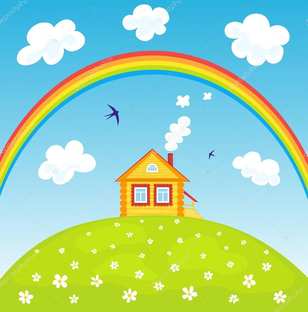 House and rainbow.