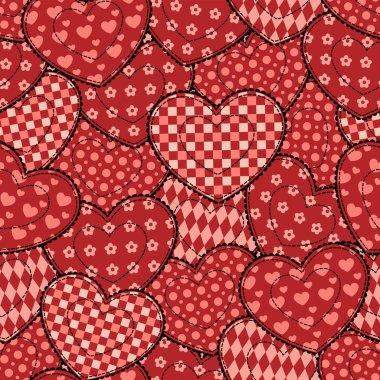 Patchwork hearts seamless beautiful pattern.