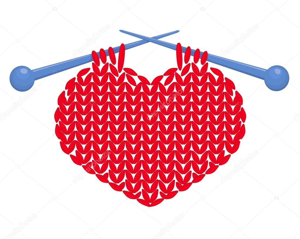 Knitted red heart on needles. Vector illustration. Isolated on white. clipart vector